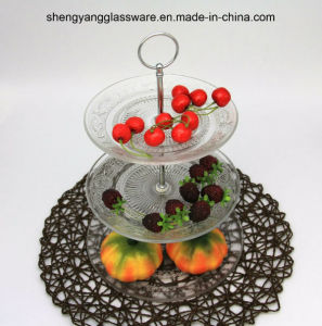 Stereoscopic Glass Cake Plate Set /Fruit Plate with Metal Upright Post pictures & photos