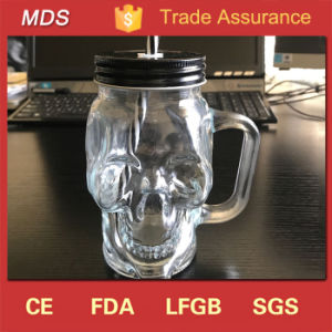 Wholesale Clear Skull Mason Jar Glass Mug with Handle and Straw pictures & photos