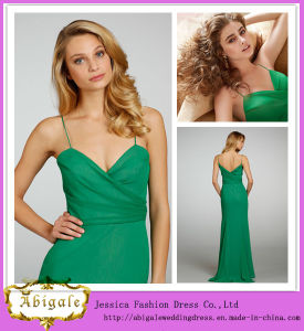 New Elegant Chiffon Green Spaghetti Straps Sweetheart Zipper Back Sleeveless Indian Prom Dresses Yj0073