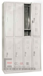 Hot Sale Silver Grey 8 Doors 2 Layers Steel Locker Storage Cabinet with Shelf Inside pictures & photos