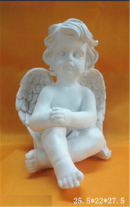 Garden Decoration Polyresin White Sitting Angel (Cherub) pictures & photos
