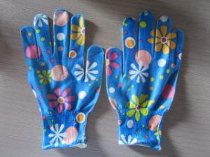 Printing Garden Gloves 100% Nylon Size S-L Work Glove pictures & photos