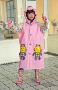 Pink PVC Robot Raincoats for Kids/Children