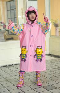 Pink PVC Robot Raincoats for Kids/Children