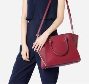 New Trendy Red Color PU Bag Stitching Women Handbag pictures & photos
