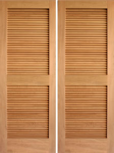 Walnut Veneered Louver Folding Closet Door pictures & photos