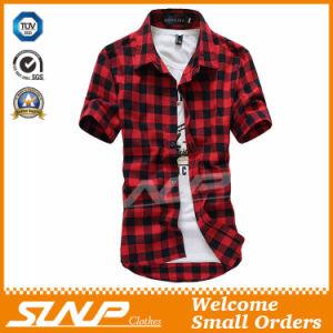 High Quality Men′s Plaid Short Sleeve T-Shirt