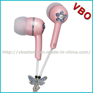 Novelty Earphones and Headphone with Crystal Rainstone Bling Headphones Pink pictures & photos