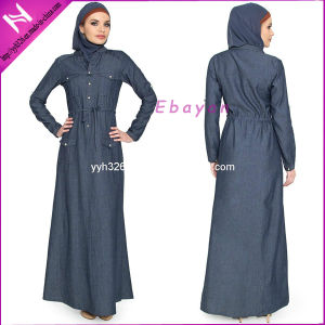 Yyh Islamic Clothing Muslim Chambray Denim Dress Abaya