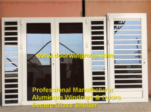 Caribbean Aluminum Louver Window Combined with French Door, China Top Quality Aluminum Secure Glass Shutter Windows pictures & photos