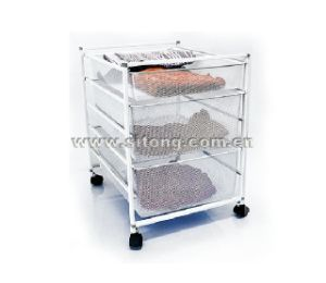 Three Tier Free Standing Powder Coated Wire Drawer Laundry Trolley (LL-02) pictures & photos