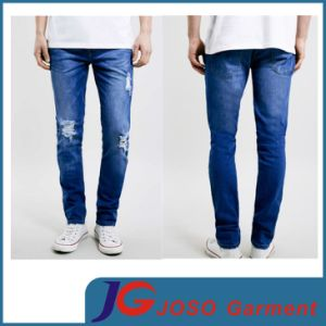 Indigo Knee Broken Skinny Men Stretch Jeans (JC3338) pictures & photos