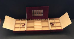 Red Felt 3 Compartment Travel Jewelry Case Metal Gold Tone Clamp pictures & photos