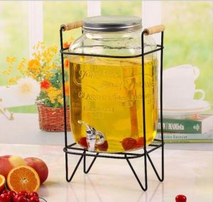 4L/5L/8L 275oz Clear Glass Juice Jar with Tap and Metal Stand for Party pictures & photos