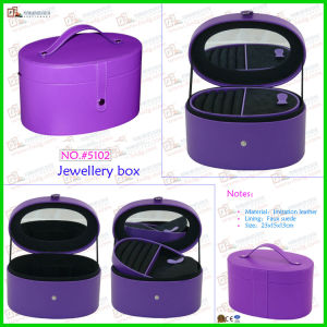 Arc-Shaped Purple Jewelry Case with Leather Handle (5102) pictures & photos