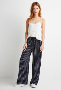 Striped Drawstring Slant Front Pockets Wide Leg Pants pictures & photos