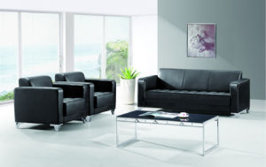 Guangzhou High Quality Black Leather Office Negotiating Sofa (FOH-8803) pictures & photos
