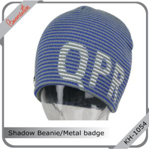 Shadow Beanie with Metal Badge Sewn on