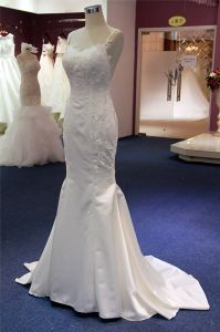 Soft Satin Lace Mermaid Fashion Dress Bridal Wedding Gown pictures & photos