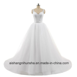 Sweetheart Lace Sleeveless Ball Gowns Detachable Wedding Dress pictures & photos