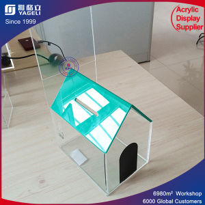 Specialized Factory House Shape Acrylic Donation Box with Lock pictures & photos