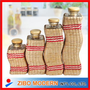4PCS Wavy Glass Jars with Grass Weave pictures & photos