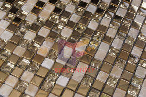 Stainless Steel Mix Marble Glass Metal Mosaic Tile (CFM752) pictures & photos