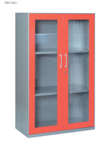 Steel Storage Cabinet Office Furniture with Double Swinging Steel Framed Glass Doors Cabinet/File Cabinet for Japan Market pictures & photos