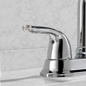 Contemporary Chrome Double Handle Widespread Bathroom Basin Vessel Sink Faucet, Chrome Finish Centerset Lavatory Faucet pictures & photos