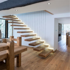 Floating Staircase with Stainless Steel Cable Railing pictures & photos