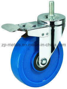 3inch Medium Sized Biaxial Blue Thread PVC Caster Wheels with Brake pictures & photos