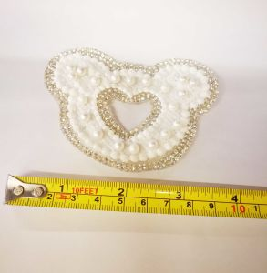 Hot Fix Glass Bead Transfer Motif Pearl Mesh Heat Transfers for T Shirts (TPE-Micky) pictures & photos