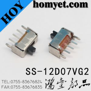 China Supplier Sale Electronic Toggle Switch, Vertical 2 Way Slide Switch Ss-12D07 pictures & photos