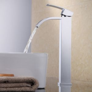 Bathroom Sink Faucet Waterfall Vessel Sink Faucet Single Handle One Hole for Lavatory Brass Contemporary Hotel Square Style Polished Chrome.