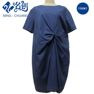 Blue Loose Short Sleeve Girdle Rear-Zipper Fashion Women Dress pictures & photos