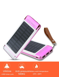 10000mAh 3 USB Port External Battery Solar Power Bank pictures & photos