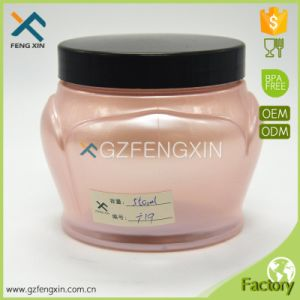 500ml Unique Plastic Cosmetic Jar with Black Lid pictures & photos