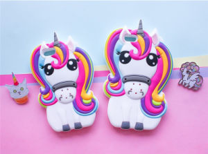 3D Unicorn Horse Soft Silicone Cell Phone Cases Cover for iPhone 7 7plus (XSDW-102)