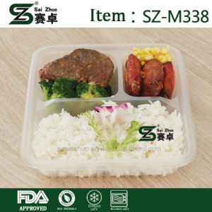 High Quality 3 Compartment Transparent Plastic Food Container with Airtigt Lids pictures & photos