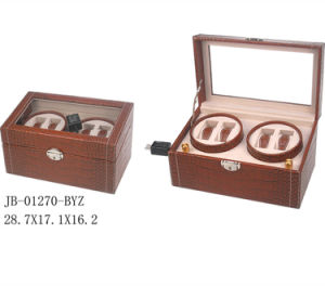 4PCS Brown Watch Winder Wooden Showbox Rotating Watch Box pictures & photos