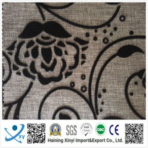 Flower Pattern Flocked Fabric for Sofa and Curtain/Upholstery pictures & photos
