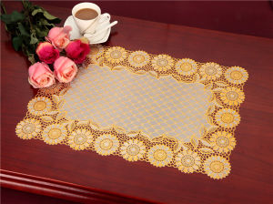 Waterproof PVC Lace Gold Tablemat Size 38*55cm pictures & photos
