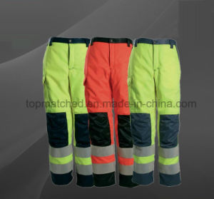 Warm Safe Reflective Tapes Twill Cotton Work Safety Pants pictures & photos