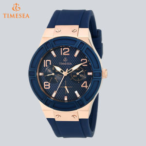 Women′s Analog Quartz Watch Blue Multi-Function Silicone Strap Watch 71098 pictures & photos