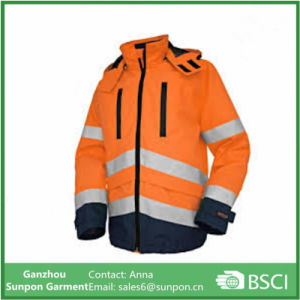 Orange /Navy Reflective Winter safety Jacket with Hood Custom Made pictures & photos
