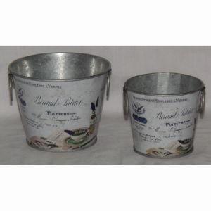 Round Tin Printing Garden Flower Pot Flowerpot Garden Pot pictures & photos