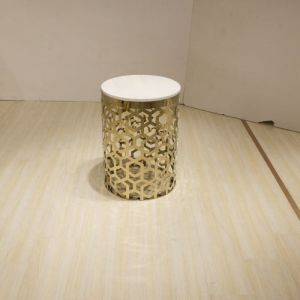 White Marble Golden Frame High Side Table pictures & photos