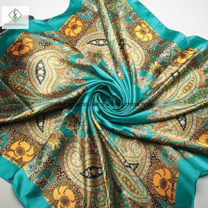 90*90cm Printed Silk Stain Bandana Fashion Lady Square Scarf Factory pictures & photos