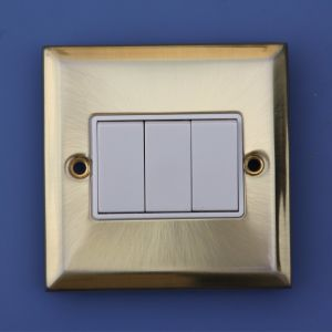 3 Gang Push Button Wall Switch for UK Market pictures & photos