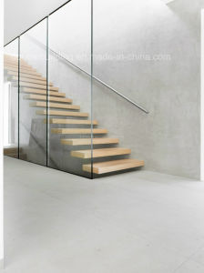 Villa Glass Floating Staircase /Wood Float Straight Stairs with Glass Wall pictures & photos